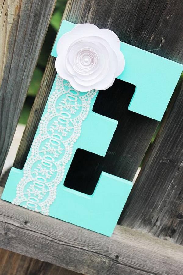 E Name Nursery Decor. Love the bright color and the delicate lace and paper flower details! It can be the unique baby gifts!
