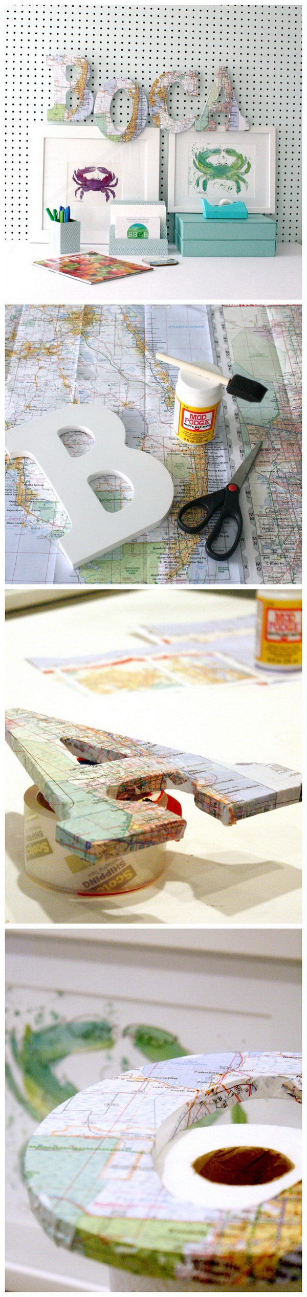 DIY Map Letters. Another DIY version of DIY decorative letters made with vintage map pages! Perfect for the wall decor of a study room!