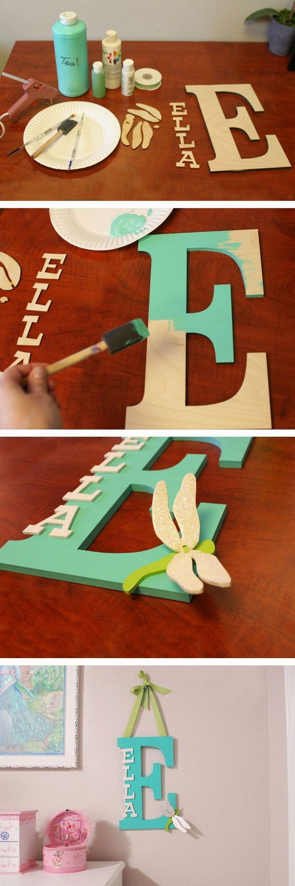 Painted Wooden Letter 20 Pretty DIY Decorative