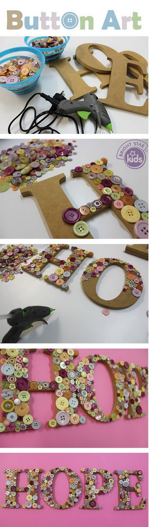 Button Letter Wall Art. Button art – Perfect for birthday party decoration. Easy to make and extremely creative!
