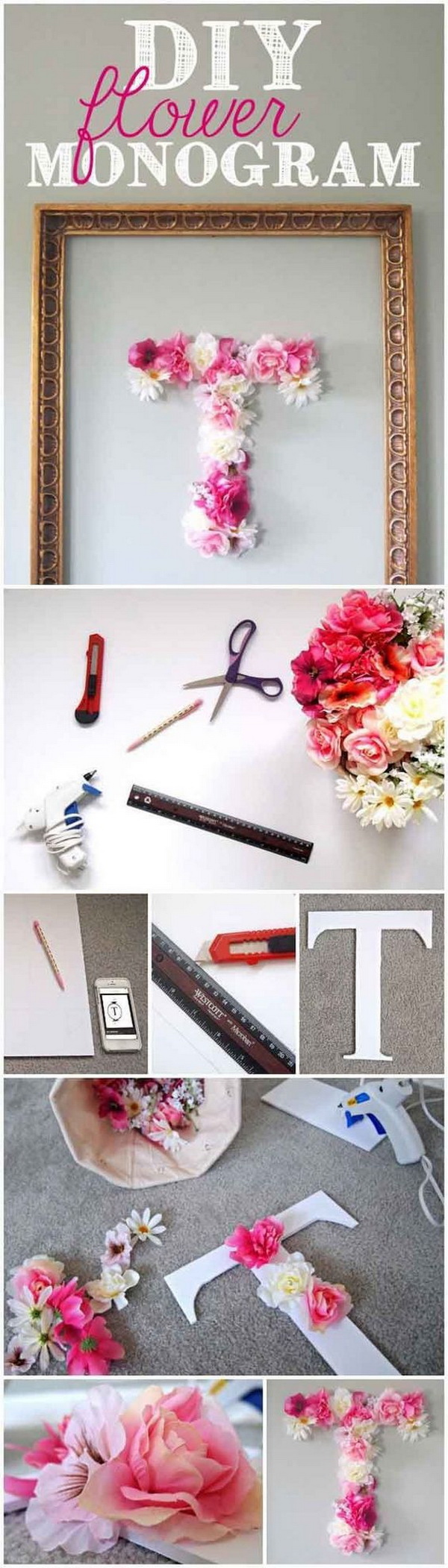 DIY Faux Flower Monogram. Make a pretty decorative letter with faux flowers for teen girls room decor! Totally easy and quick to make in hours!