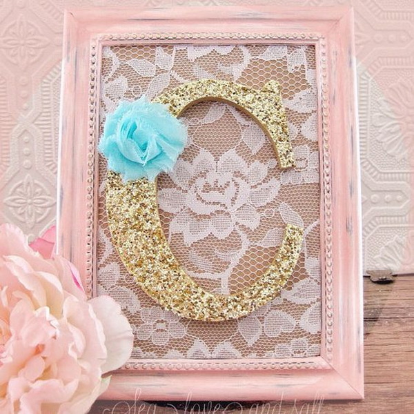 Pink Shabby Chic Nursery Decorative Wall Letter. Pink and gold wall letters for nursery decor with shabby chic charm!