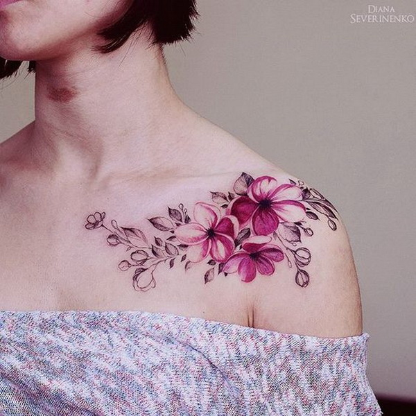 Pink Flowers Watercolor Tattoo. 30+ Beautiful Flower Tattoo Designs.