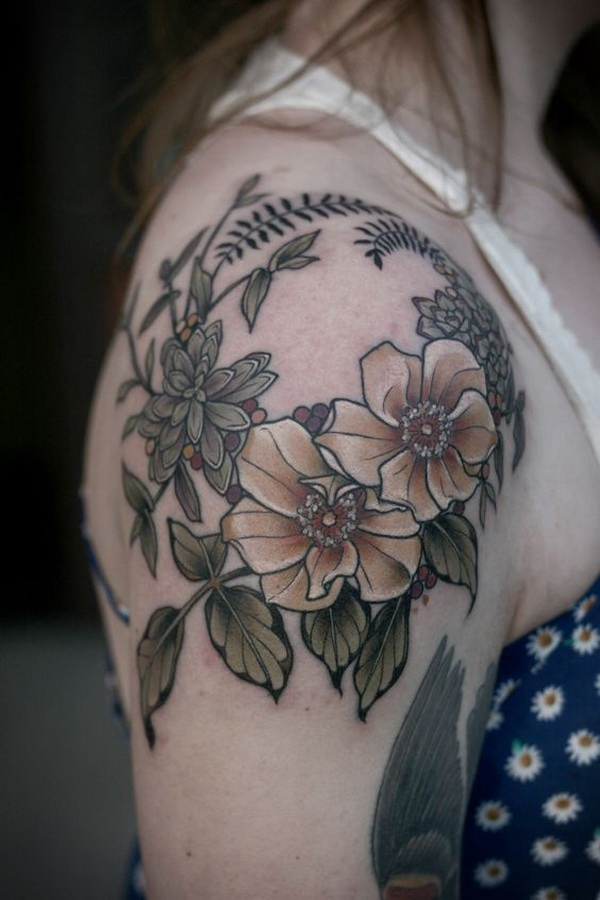 Shoulder Cap Flower Wreath. 30+ Beautiful Flower Tattoo Designs.