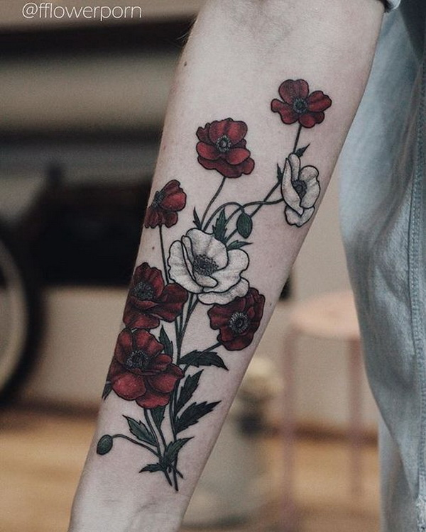 Bloody Poppies Tattoos for Women. 30+ Beautiful Flower Tattoo Designs.