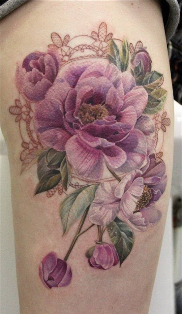 Purple Flower Tattoo. 30+ Beautiful Flower Tattoo Designs.