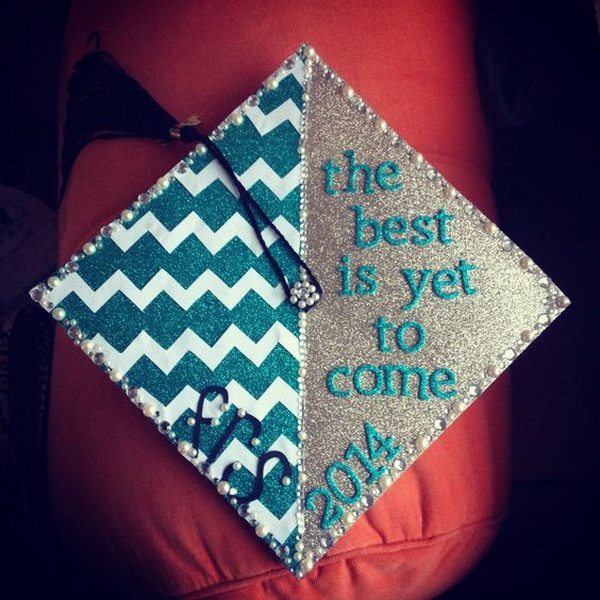 Chevron Lines and Silver Glitters Graduation Cap.