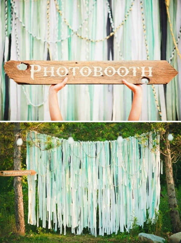 Pretty photo booth backdrop ideas with lots of tutorials listing more diy ribbon photobooth backdrop solutioingenieria Choice Image