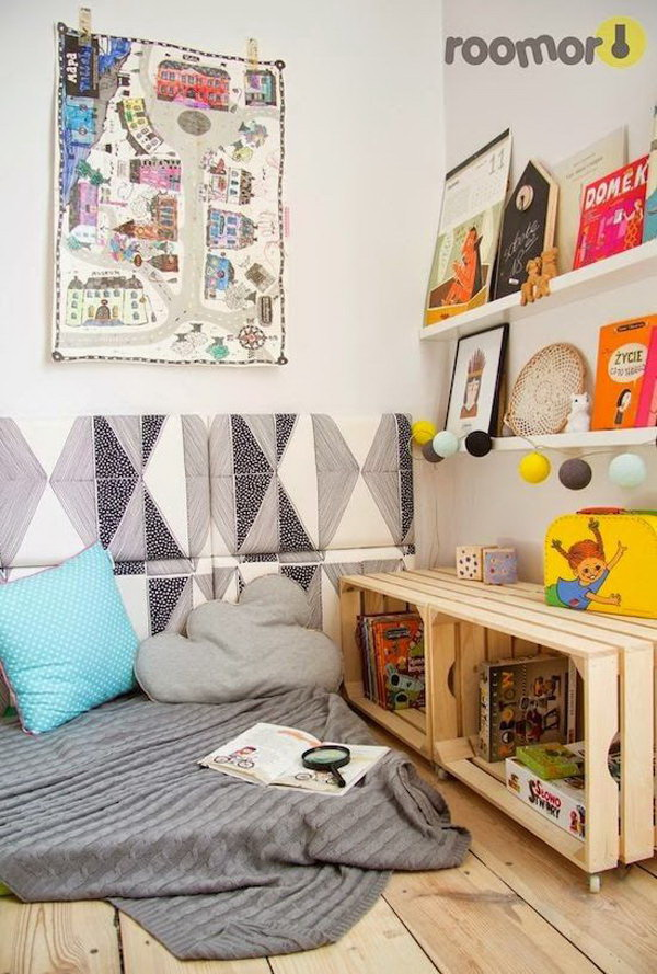 DIY Crate Book Storage For Reading Corner.