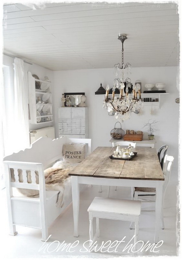 35+ Beautiful Shabby Chic Dining Room Decoration Ideas - Listing More
