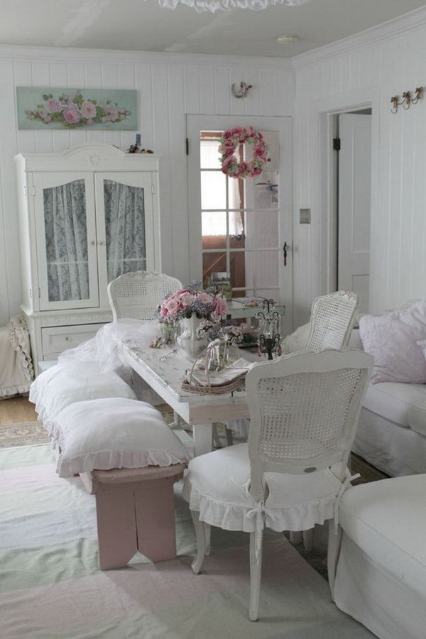 Shabby clean look with the simple addition of pink.