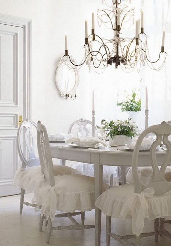 White Dining Room With Rustic Chic Chandelier.
