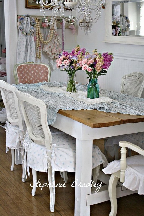 Superb Shabby Chic Dining Room With Fresh Flowers In Mason Jars And Gorgeous  Chandelier.
