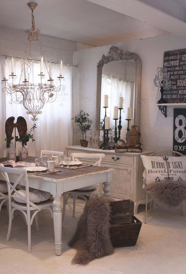 Rustic shabby chic dining room decor for Dining room decorating ideas rustic