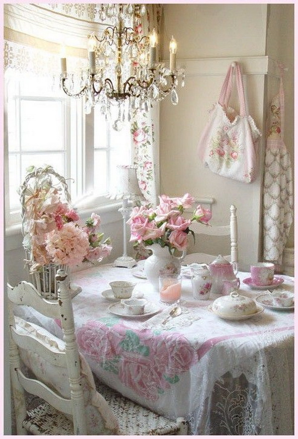 35 beautiful shabby chic dining room decoration ideas for Deco murale shabby chic