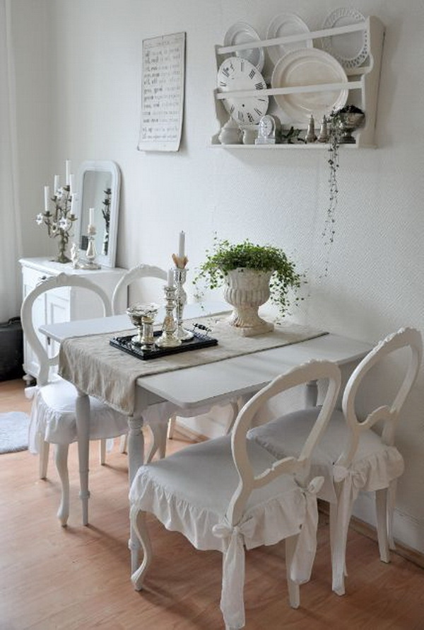 Marvelous All Vintage White Shabby Chic Dinning Area With A Wall Shelving System.