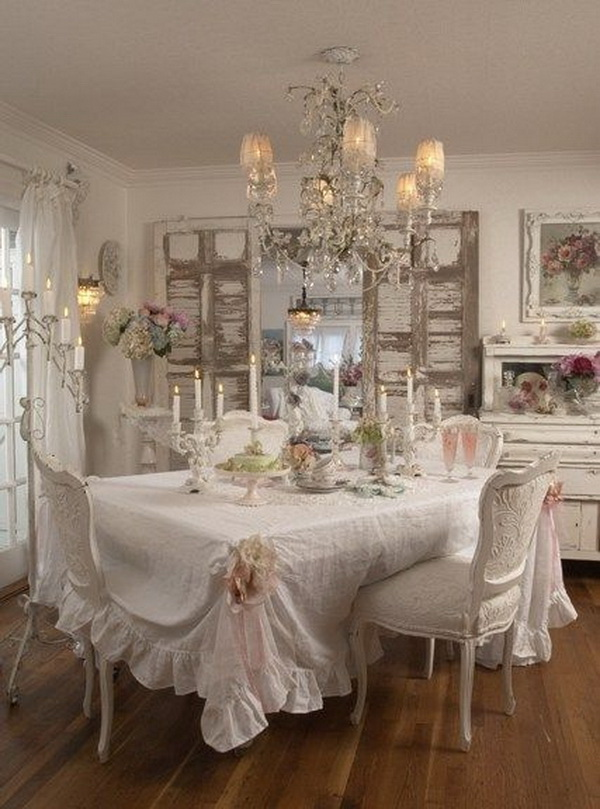 Recommended color scheme for shabby chic dining room is white or very light gray. Whitewashed tablecloth, old doors, rustic chandelier....really add rustic warm and charm.