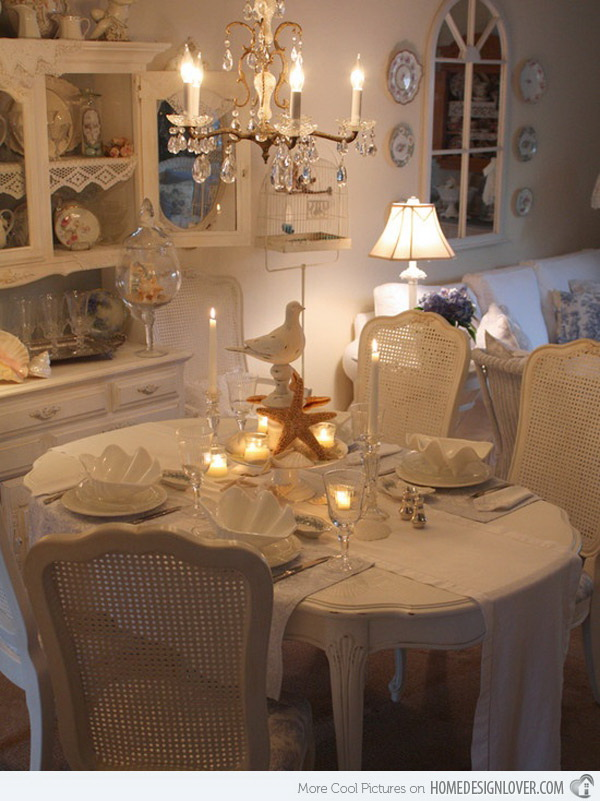 Romantic dining room with beach themed decor.