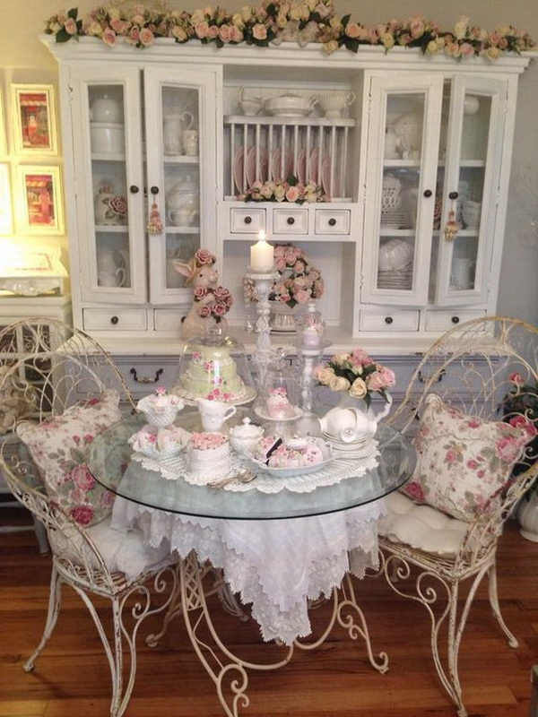 Floral Themed Shabby Chic Dining Room.
