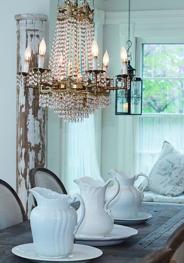 Farmhouse dining table and crystal chandelier....