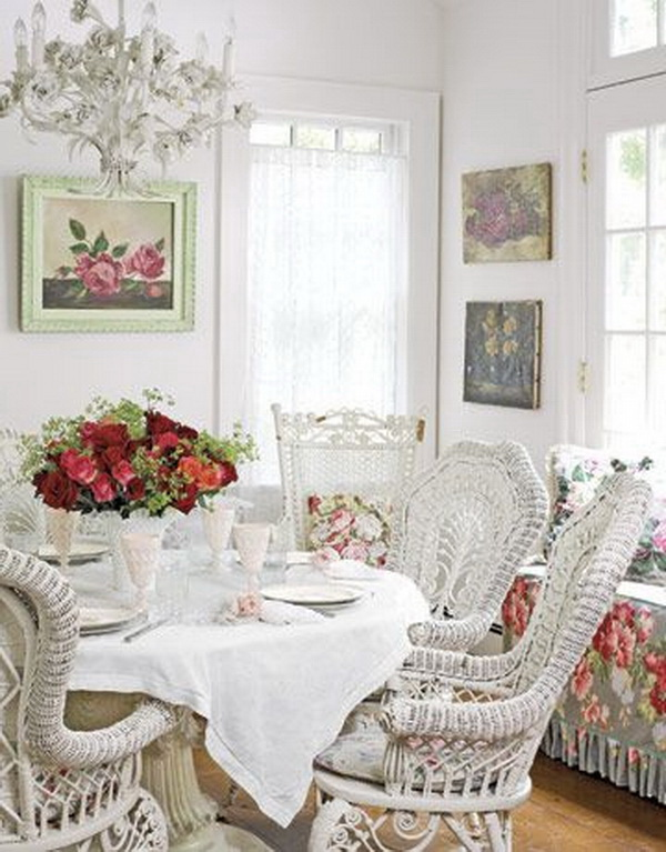 Shabby chic dining room with fresh and clean look...