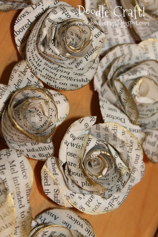 30 great upcycling ideas for vintage old book pages listing more antique book page handmade large spiral paper flowers mightylinksfo