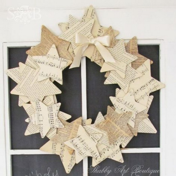 Old Book Pages Stars Wreath. A hand-made wreath of little stars cut from vintage old book pages.