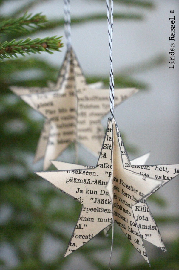 Old Book Paper 3D Star Ornaments.