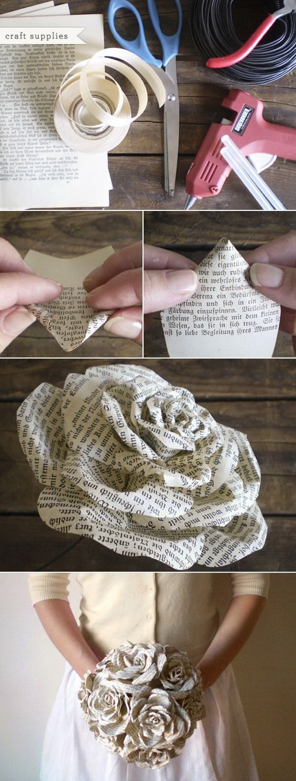 Recycled Book Paper Roses Bouquet. Beautiful bridesmaid wedding bouquet made of vintage old book pages which were destined for recycling. Curled and attached together to form a fixed bouquet.
