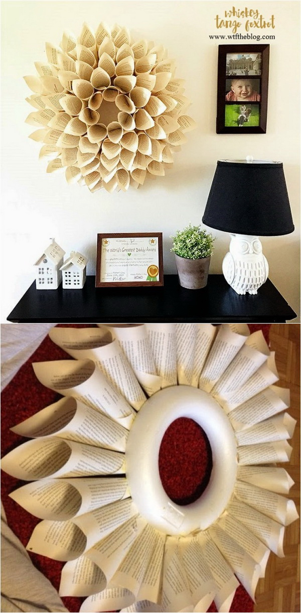 DIY Book Page Wreath. An elegant and unique paper wreath made from the vintage old book pages.