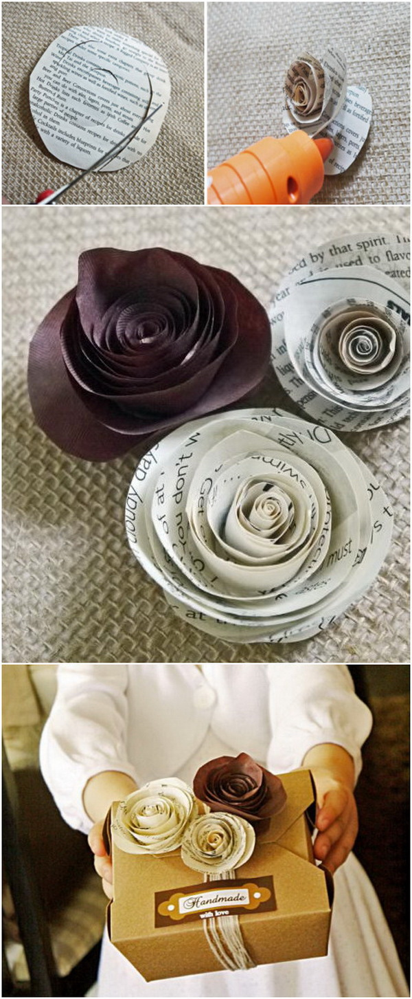 30 great upcycling ideas for vintage old book pages listing more tiny rolled paper roses gift wrapping mightylinksfo