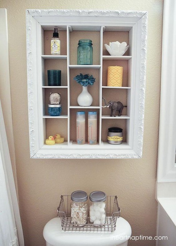 DIY Over The Toilet Storage Unit Repurposed From An Old Picture Frame.