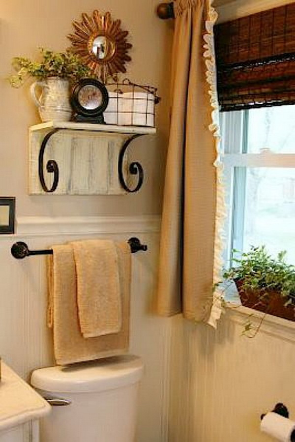 shelf over toilet this vintage shelf with design allows you to utilize extra space for all your bathroom storage - Bathroom Decorating Ideas For Over The Toilet