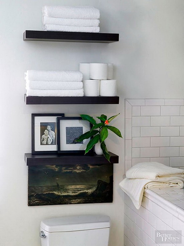 These Elegant Black Floating Shelves Make An Eye Catching Display In Your  Bathroom And Add Perfect