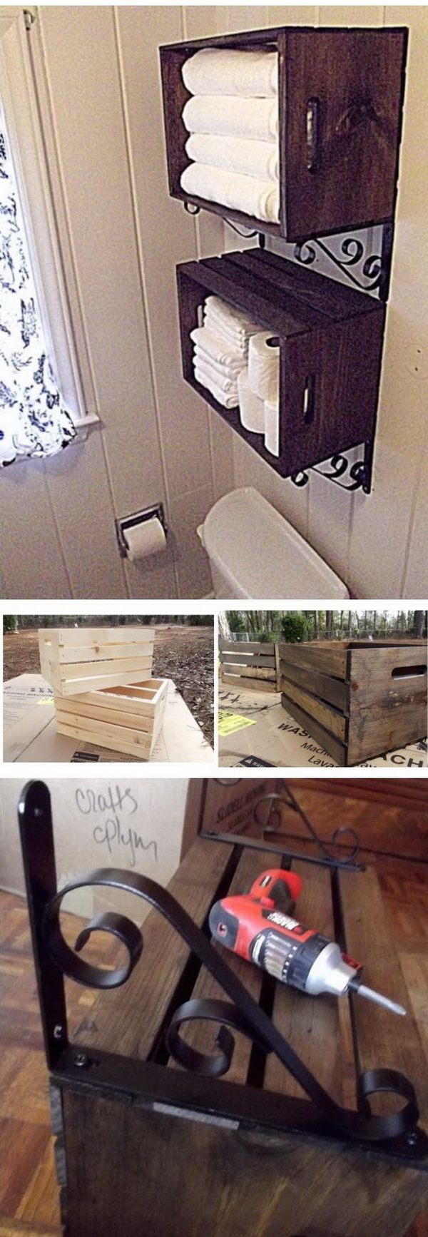 Wood Crate Wall Storage Over the Toilet.