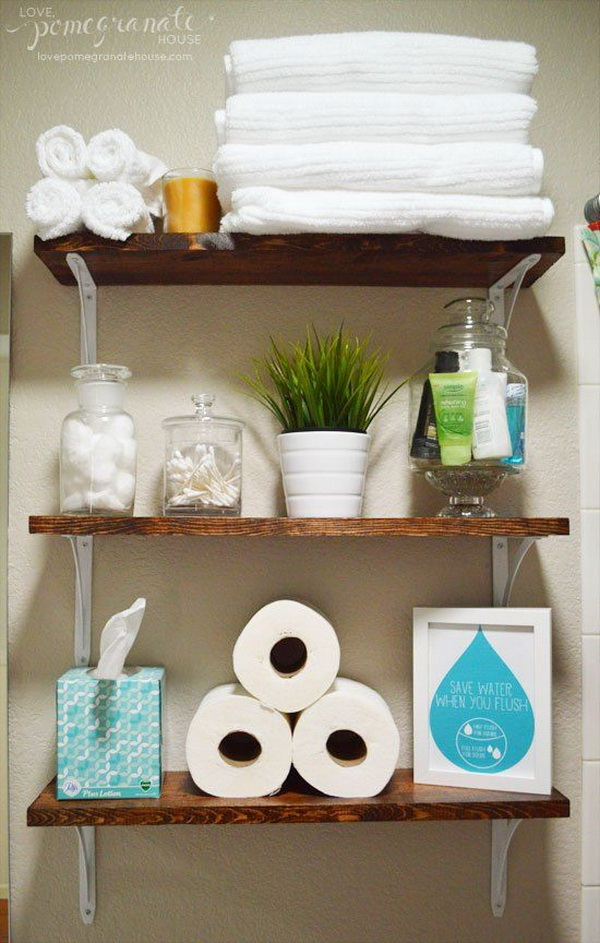 DIY Open Shelves with Metal Brackets.