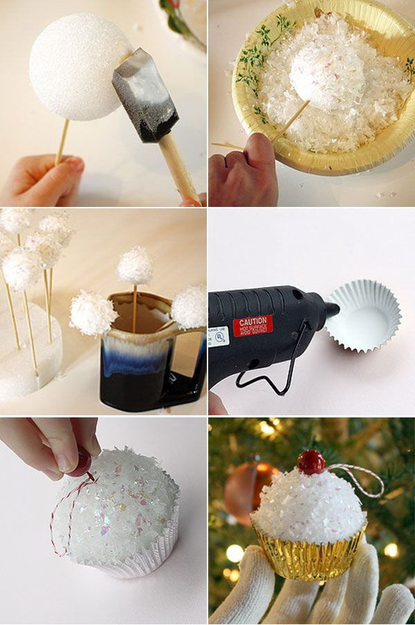Cupcake Christmas Tree Ornaments.