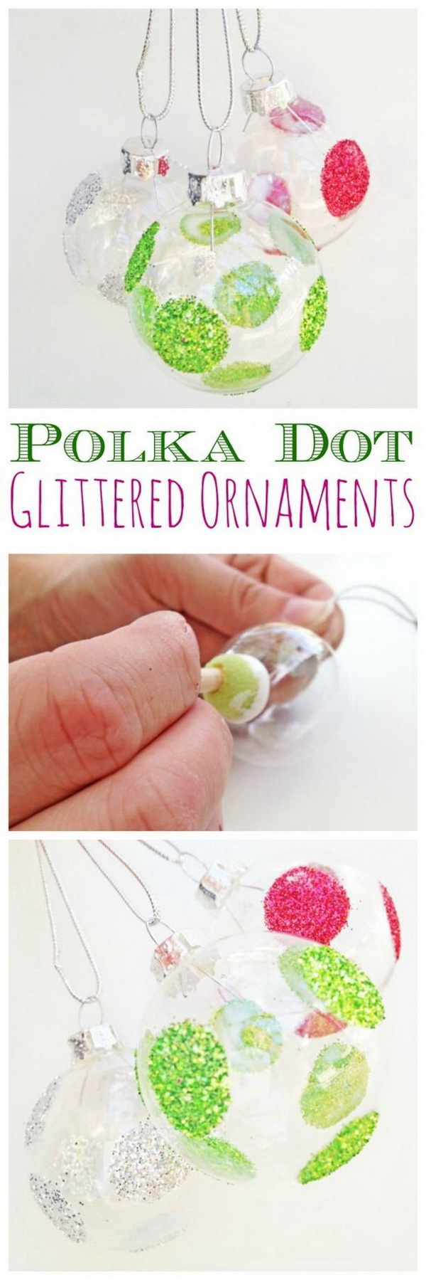Polka Dot Glittered Ornaments DIY.
