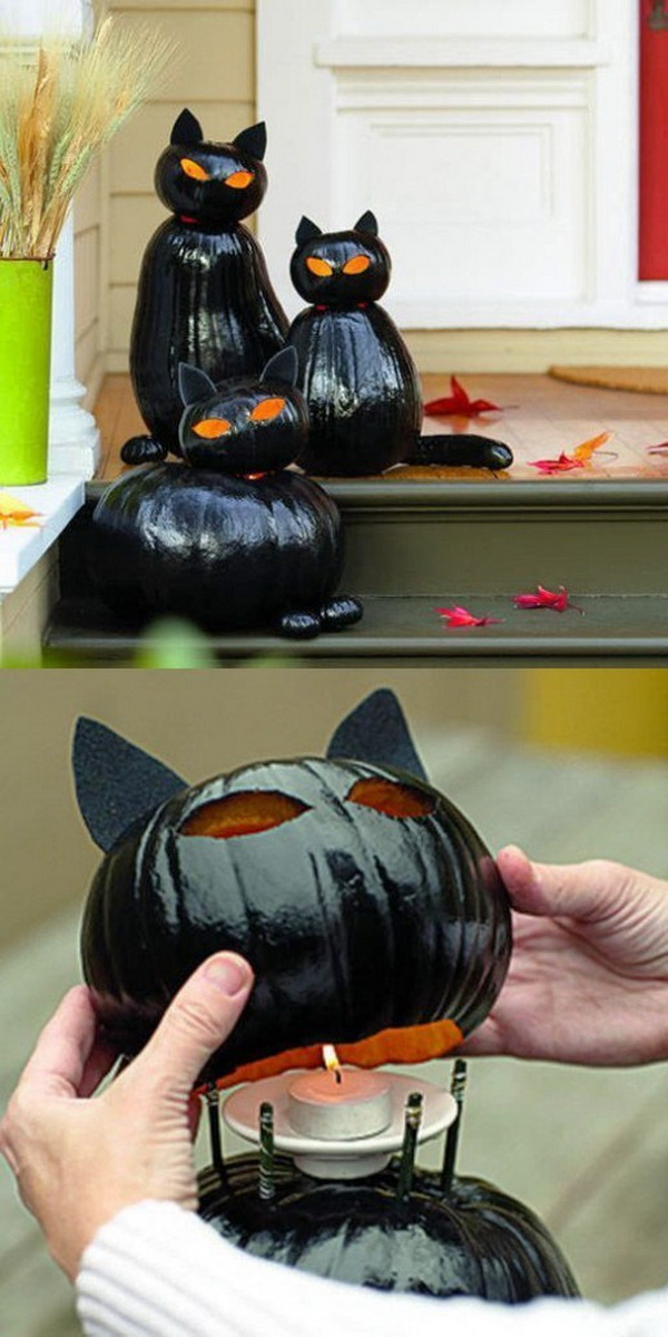 Black Cat o-Lanterns. Create a big, black cat out of two pumpkins. It's really easy to make, and are prefect for your outdoor Halloween decoration!