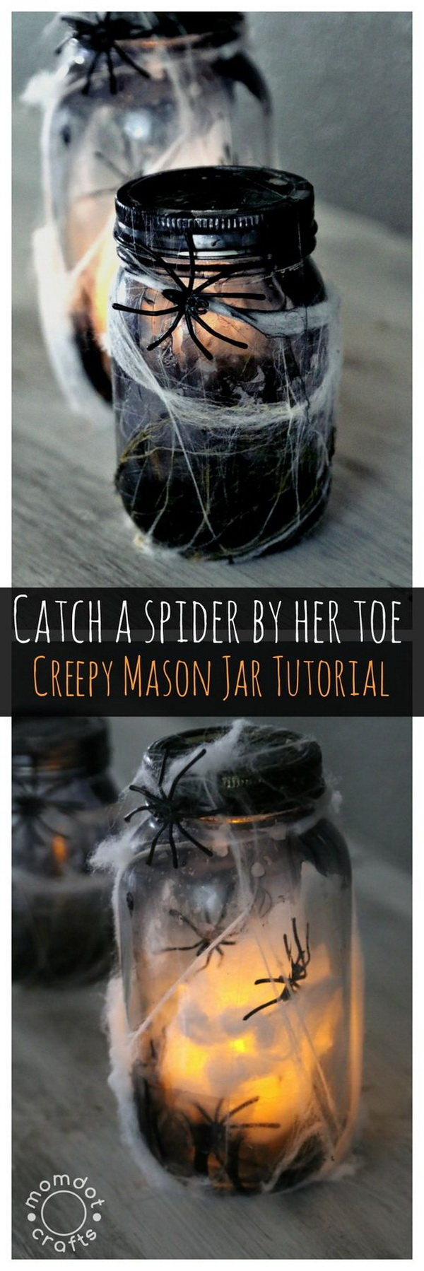 Light Up Spider Mason Jar. Make a creepy light up spider jar for halloween decor, center pieces or scary bathroom night light.