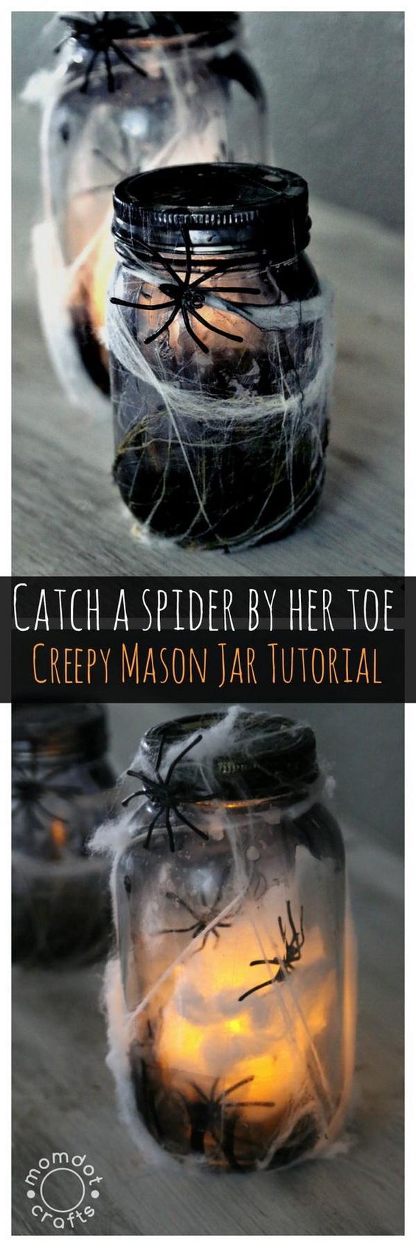 Make A Creepy Light Up Spider Jar For Halloween Decor