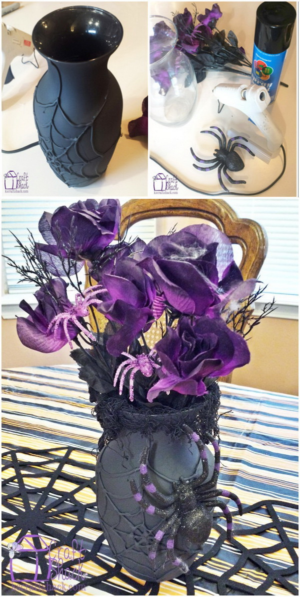Dollar Store Spider Halloween Vase. What you need are a glass vase, hot glue, sharpie marker and flat black spray paintto to make this dollar store spiderweb vase! Perfect for Halloween decorations.