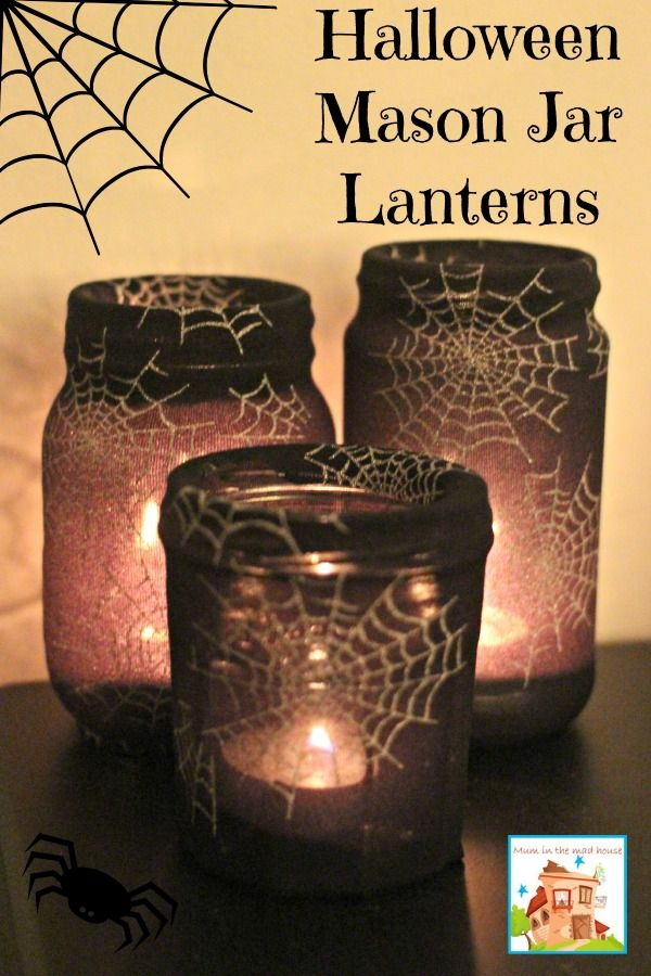 Mason Jar Halloween Lanterns. Super easy and quick to make with fun add the festive atmosphere to your house this creepy halloween season!