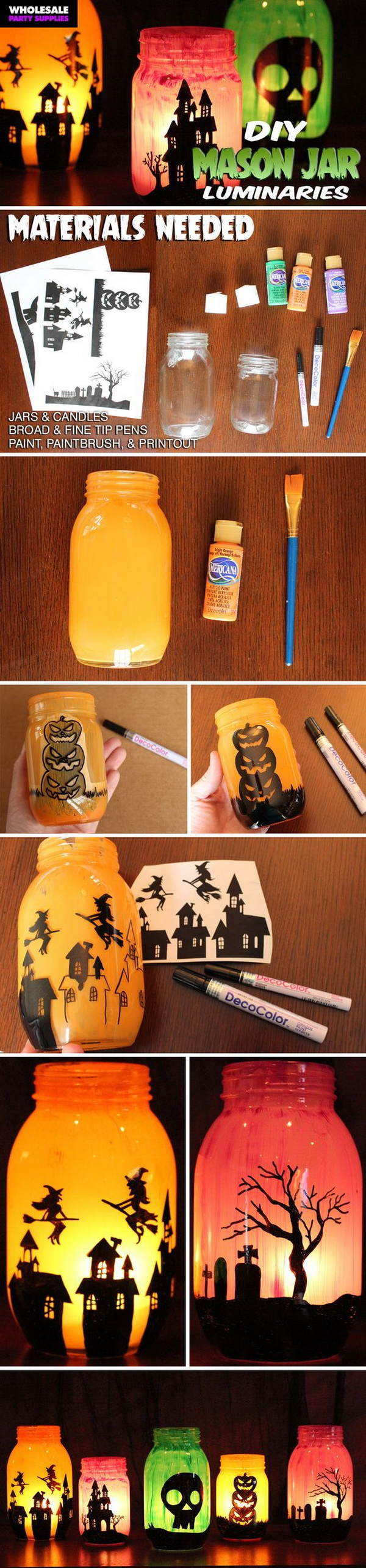 DIY Mason Jar Luminaries. Add a cute and spooky touch to your home with these haunting luminaries that decorated with free printable templates full of spooky characters. They look great either in the dark or in the light!