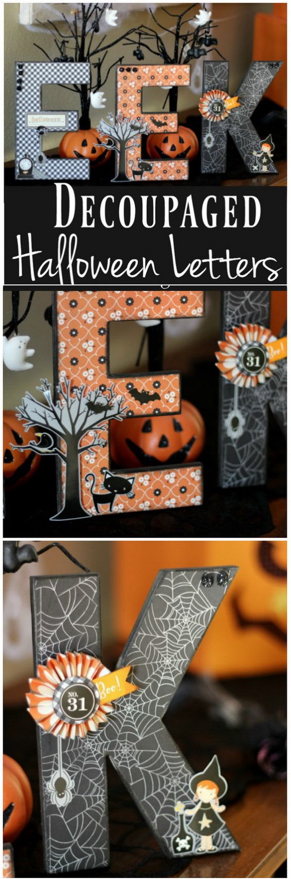 Decoupaged Halloween Letters.What a fun way to add that unique, whimsical touch to your Halloween Decor with these decoupages Halloween themed letters!