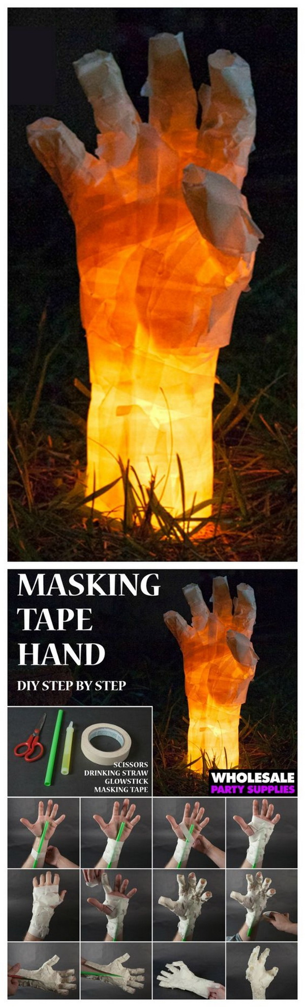 Glow in the Dark Masking Tape Hand. This creepy glow in the dark hand is the perfect DIY addition to add to your Halloween decor.