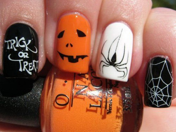 trick or treat halloween nail design - Halloween Nail Art 45 Cool Halloween Nail Art Ideas. Cute Nail