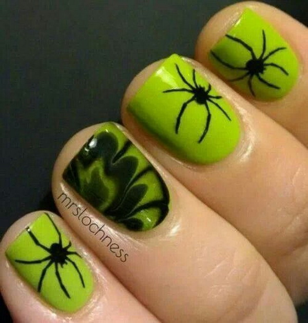 Spiders Halloween Nail Art.