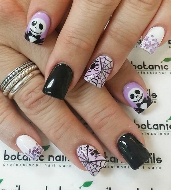 40 cute and spooky halloween nail art designs listing more purple and black halloween nail ideas prinsesfo Choice Image