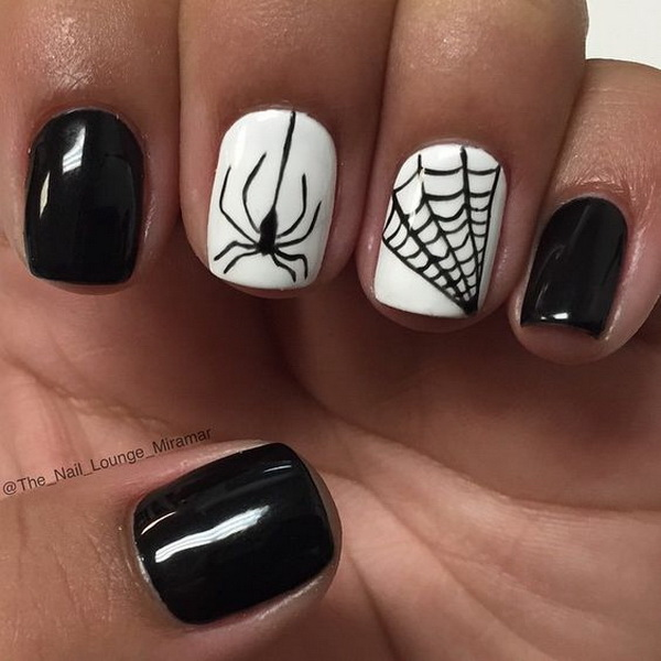 Black and White Spider and Web Nail Art.
